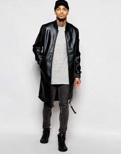 Черная удлиненная куртка-пилот из искусственной кожи Dark Future - Черный