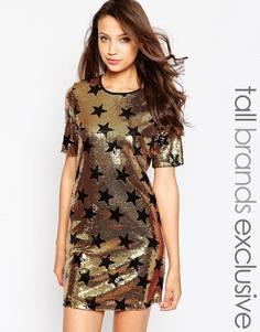 Цельнокройное платье со звездной отделкой True Decadence Tall - Золотой