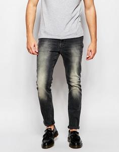 Черные зауженные джинсы ASOS - Выбеленный черный