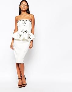Платье миди с баской и отделкой Forever Unique Stacey - Слоновая кость