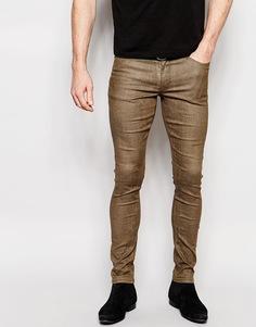 Зауженные джинсы со змеиным узором ASOS - Серо-зеленый