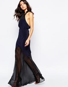 Платье макси из темно-синего шелка The Stone Cold Fox Aquarius