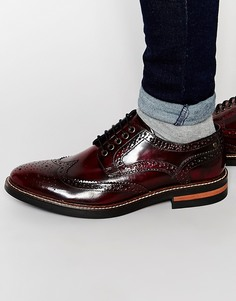 Блестящие кожаные броги Base London Woburn - Красный