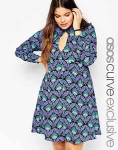 Платье бэби‑долл с вырезом капелькой и принтом в стиле арт‑деко ASOS CURVE - Мульти