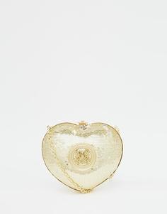 Золотистый клатч с отделкой пайетками и сердечком Love Moschino - 90a gold