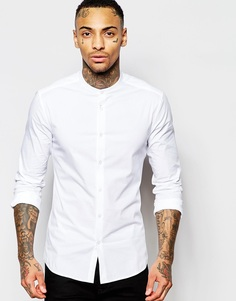 Белая рубашка скинни с воротником с застежкой на пуговицах ASOS - Белый
