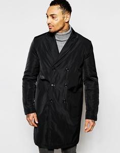 Черное двубортное пальто ASOS - Черный
