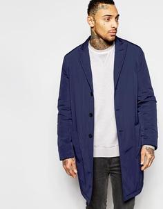 Однобортное темно-синее пальто ASOS - Темно-синий