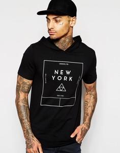 Облегающая футболка с типографским принтом и капюшоном ASOS - Черный