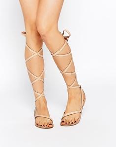 Кожаные сандалии с высокой завязкой ASOS FAIRY - Телесный