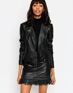 Байкерская куртка с окантовкой ASOS Ultimate - Черный
