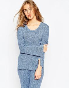 Трикотажная туника джинсовой расцветки с разрезами ASOS - Голубой джинсовый
