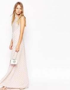 Платье макси с отделкой Needle & Thread - Розовый выбеленный