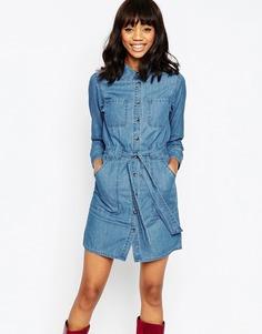 Синее выбеленное джинсовое платье‑рубашка с поясом ASOS - Синий выбеленный