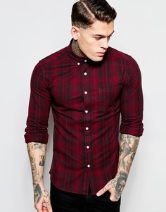 Облегающая рубашка в клетку с длинными рукавами ASOS - Burgundy