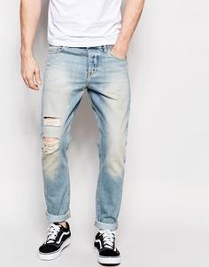 Светло-синие рваные джинсы ASOS - Светло-голубой
