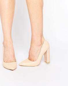 Телесные блестящие туфли‑лодочки на блочном каблуке Lost Ink Carlita - Телесный