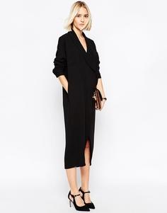 Платье-рубашка миди с запахом ASOS WHITE - Черный