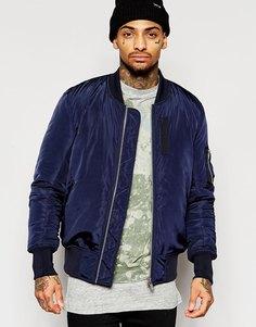 Темно-синяя куртка-пилот с карманами ASOS MA1 - Темно-синий