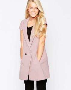 Удлиненный жилет с короткими рукавами Closet - Пастельно-розовый