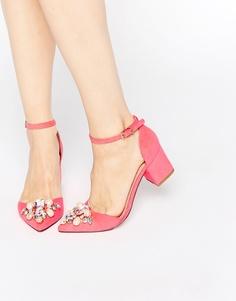 Туфли с острым носом на каблуке ASOS SPARKLE - Ярко-розовый