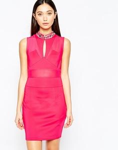 Облегающее платье со вставками Girl in Mind - Розовый