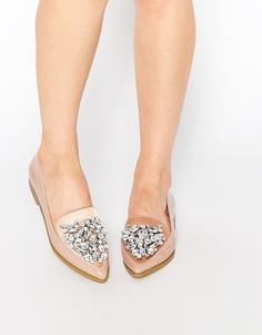 Туфли на плоской подошве с острым носом ASOS MONOPOLY - Телесный