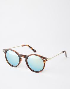 Круглые солнцезащитные очки с металлическими дужками и зеркальными стеклами ASOS - Черепаховый