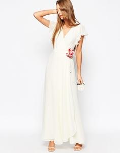 Корсажное платье макси с запахом ASOS WEDDING - Белый