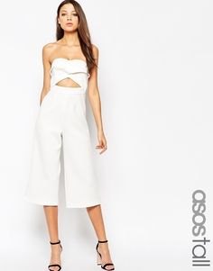 Комбинезон бандо с юбкой-брюками эксклюзивно для ASOS TALL - Белый