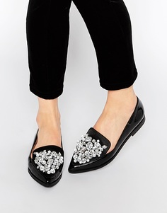 Туфли на плоской подошве с острым носом ASOS MONOPOLY - Черный