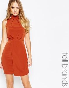 Платье-футляр с высокой горловиной и запахом Y.A.S Tall - Оранжевый