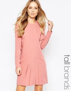 Платье со складками спереди и длинными рукавами Y.A.S Tall - Розовый