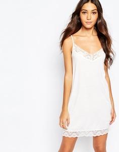 Трикотажное платье-комбинация с кружевными вставками Rokoko - Белый