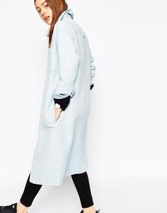 Пальто из выбеленной льняной смеси ASOS Premium - Светло-голубой