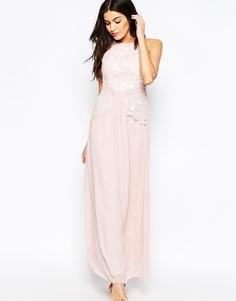 Платье макси с цветочной вышивкой Little Mistress - Роза