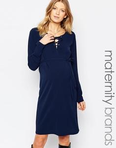Платье для беременных с шнуровкой спереди Mamalicious - Темно-синий Mama.Licious