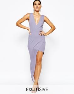 Платье-футляр с асимметричной юбкой и запахом NaaNaa - Темно-лавандовый
