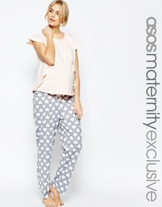 Пижама в сердечко с топом для кормления и штанами ASOS Maternity - Мульти