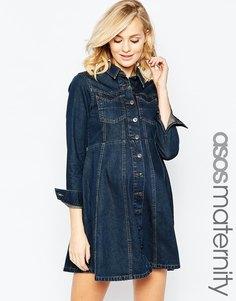 Джинсовое платье-рубашка для беременных в стиле вестерн с расклешенной юбкой ASOS Maternity - Синий