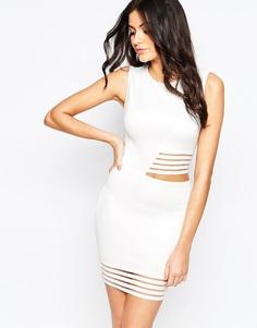 Облегающее платье с прозрачными полосками AX Paris - Кремовый