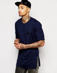 Длинная футболка с боковыми разрезами и нашивкой Religion - Темно-синий