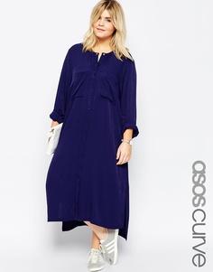 Платье-рубашка миди ASOS CURVE - Темно-синий