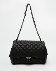 Черная стеганая сумка на плечо с отделкой оловянного цвета Marc B