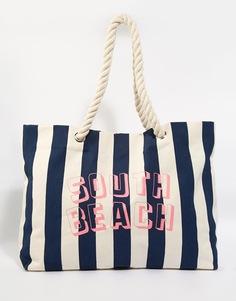 Пляжная сумка в темно‑синюю полоску с ручками из веревки South Beach - Темно-синий