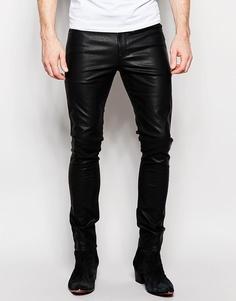 Супероблегающие джинсы с люверсами и поясом ASOS - Черный