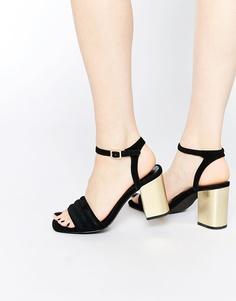 Черные замшевые босоножки на блочном каблуке Senso Reid - Черный