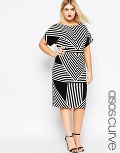 Платье в шевронную полоску ASOS CURVE - Принт