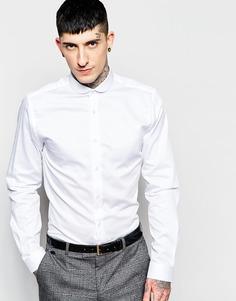Фактурная рубашка зауженного кроя с фигурным воротником Heart & Dagger - Белый