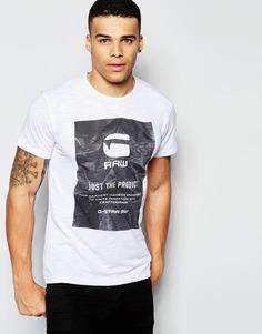 Белая футболка с круглым вырезом и принтом G-Star Lenk 3 - Белый